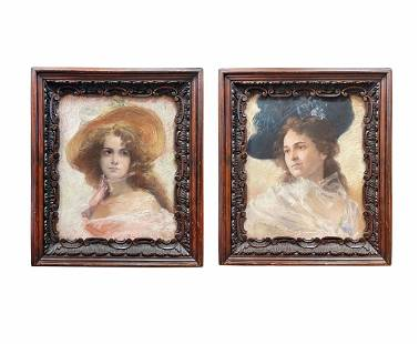 A Pair of 19th C. French Pastel & Carved Wood Frames