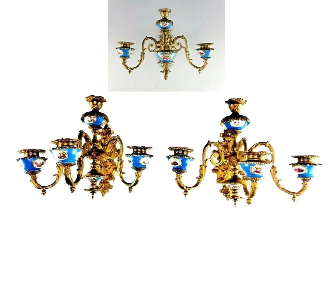 A Pair of French Sevres Gilt Bronze Wall Sconces