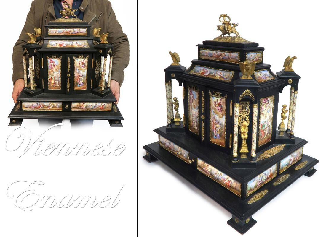 Very Large 19th C Viennese Enamel Mounted Table Cabinet