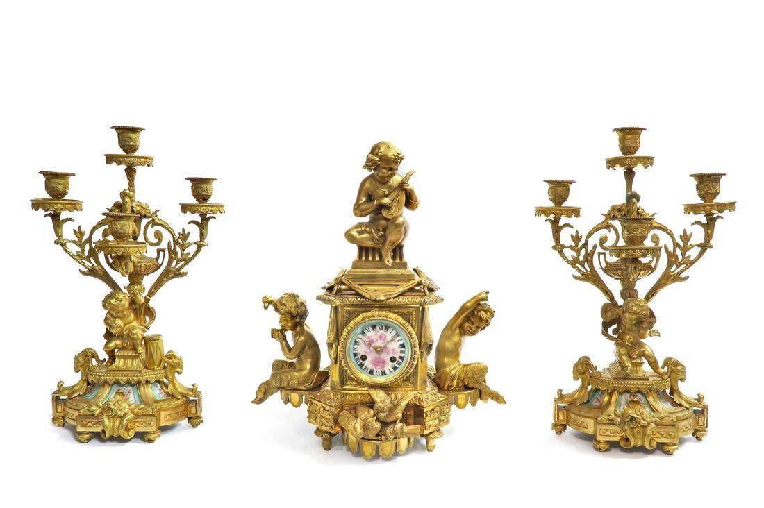 19th C. Bronze Figural Clock Set Beurdeley Attr.