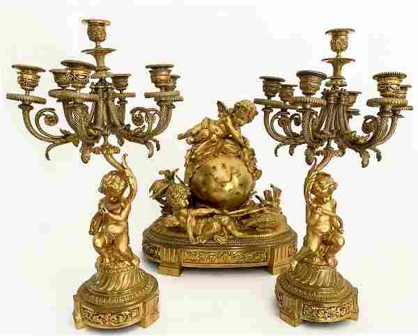 19th Century French Bronze Mantel Figural Clock set
