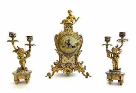 19th C. Judaica Champleve & Bronze Clock Set