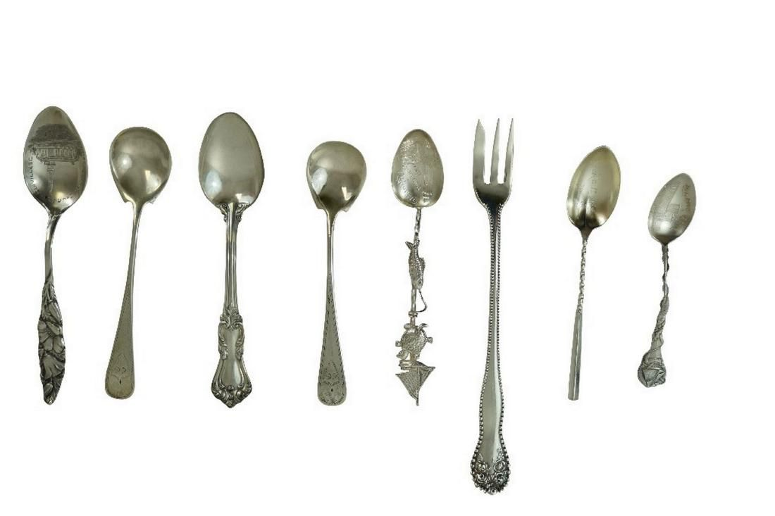 Eight Sterling Silver Condiment Pieces