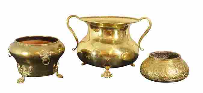 Three Brass Planters