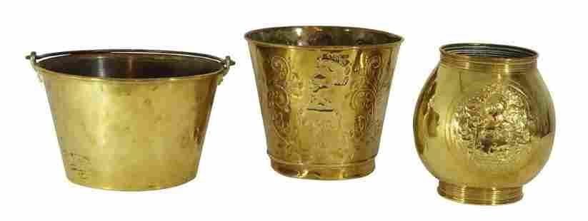 Brass Planter and Two Brass Fire Buckets