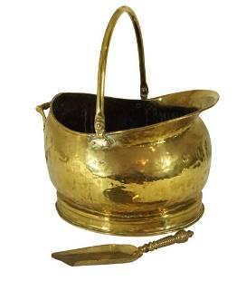 Brass Coal Bucket with Shovel