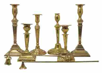Six Brass Candlesticks with Two Snuffers