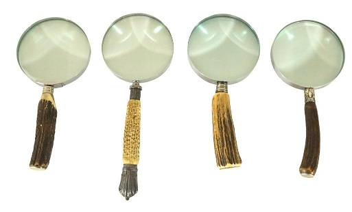 Four Magnifying Glasses with Horn Handles