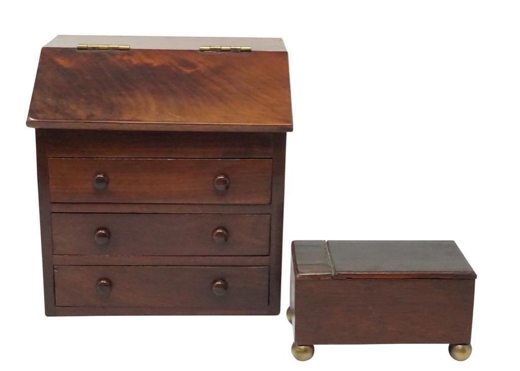 English Miniature Tea Caddy Box and Slant Front Desk