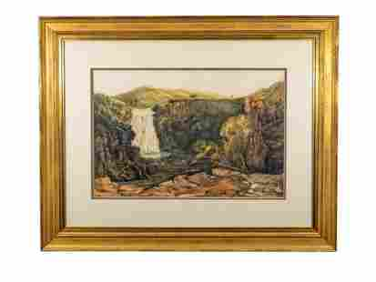 Unknown Artist Tropical Waterfall Print