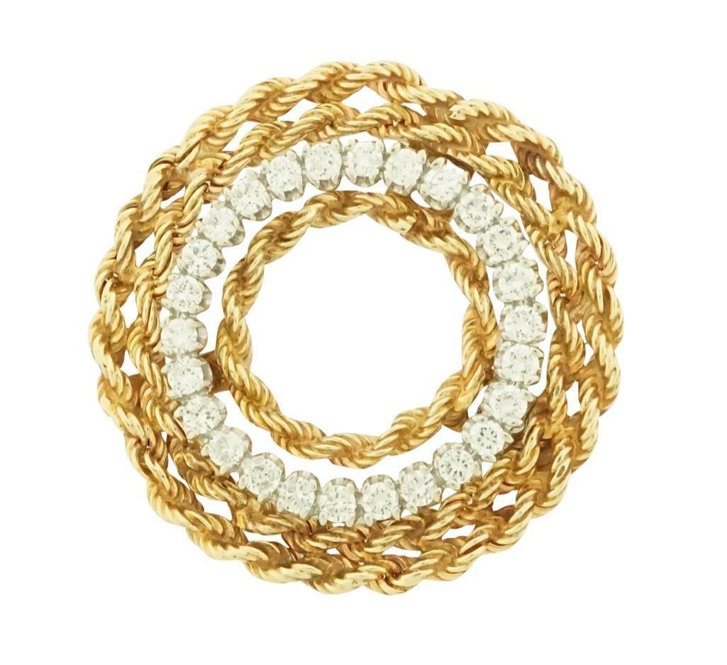 14k White Gold Circle Pin with 14k Yellow Gold Rope