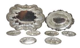 Two Oval Sterling Bread Bowls and Set of Six Trays [8