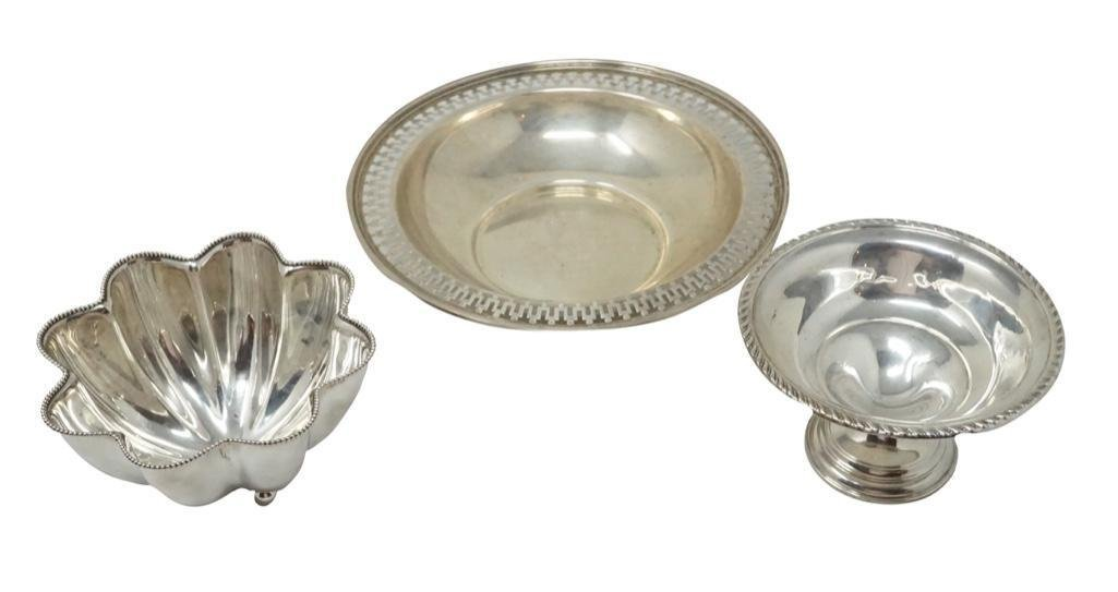 Two Sterling Bowls and Candy Dish [3 pieces total]
