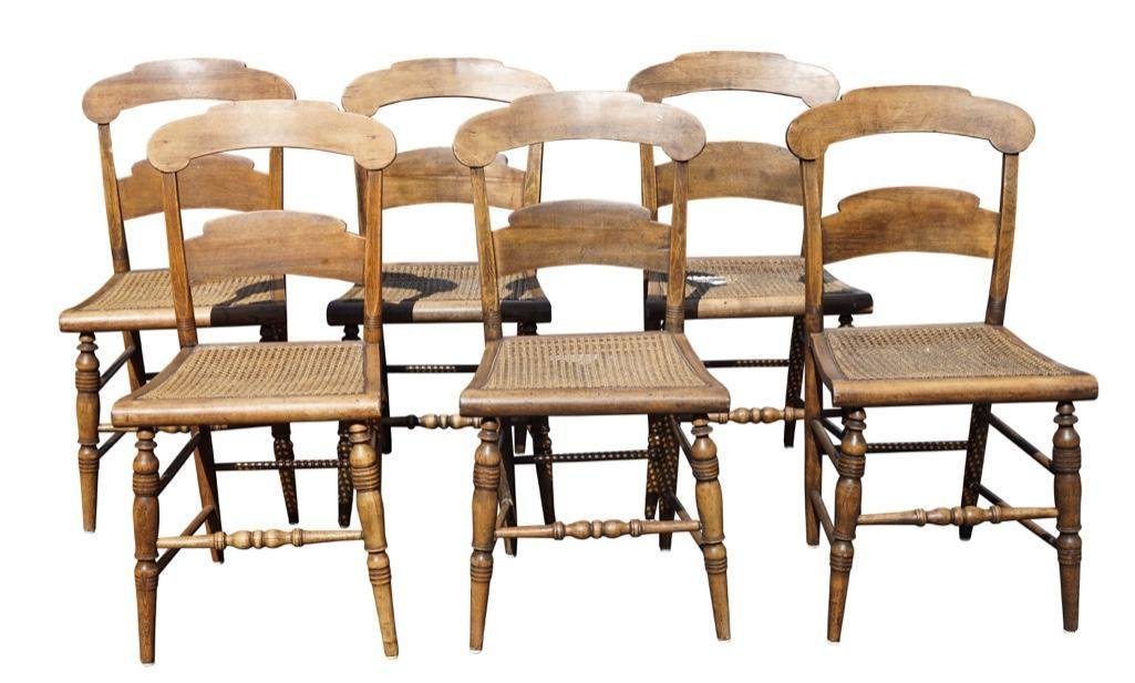 Set of Sheraton Style Side Chairs with Cane Seats [6