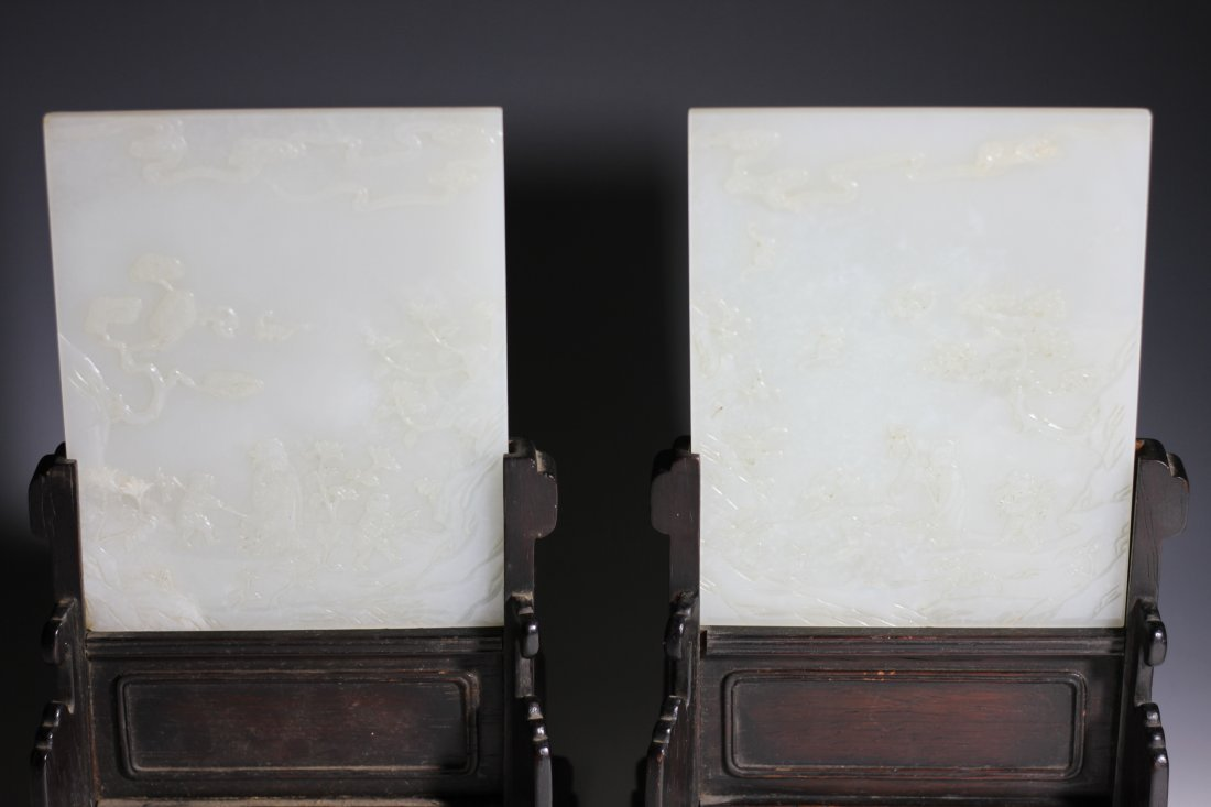 A Pair of Chinese white jade table screens
