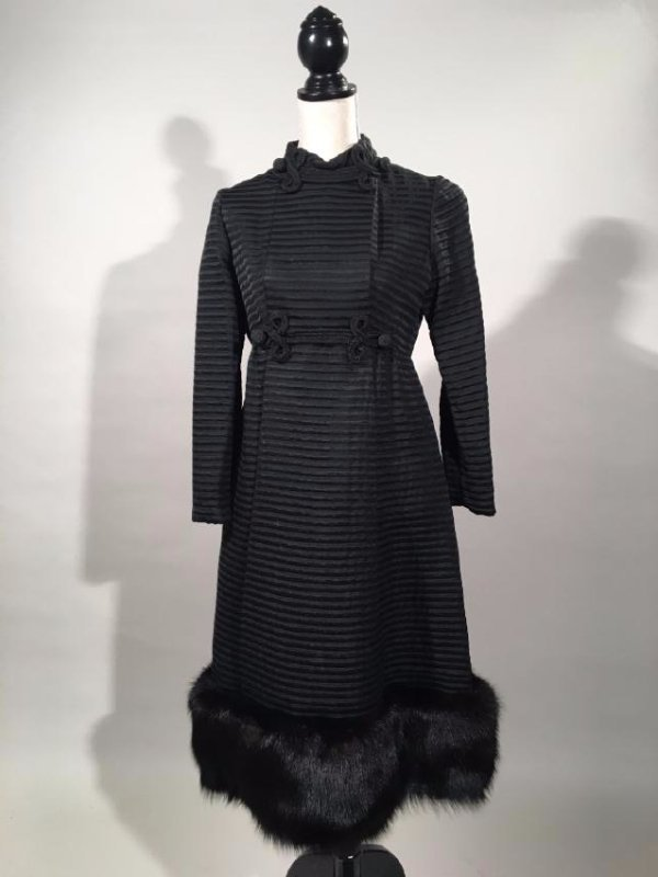 Empire Cut Dress With Fox Trim