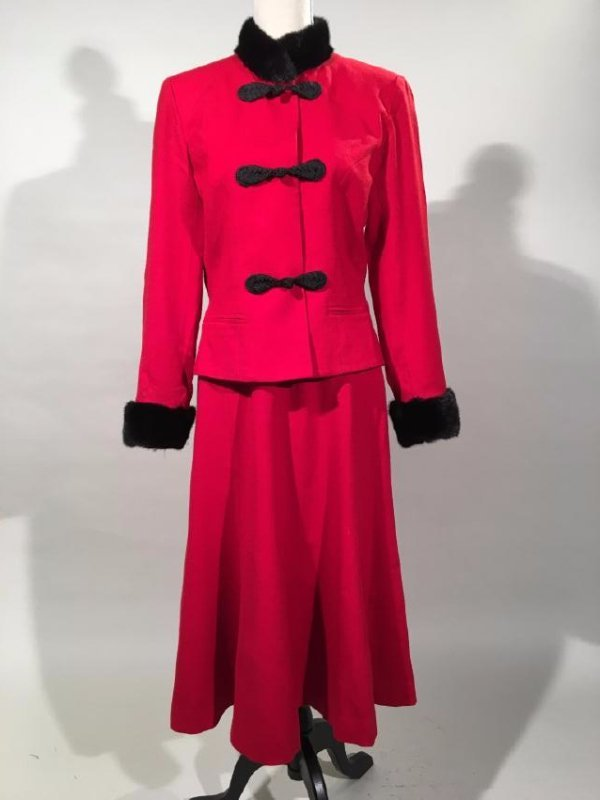 Red Dress Suit With Mink Trim
