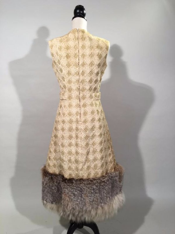 Tan Knit Dress With Lynx Trim - 9