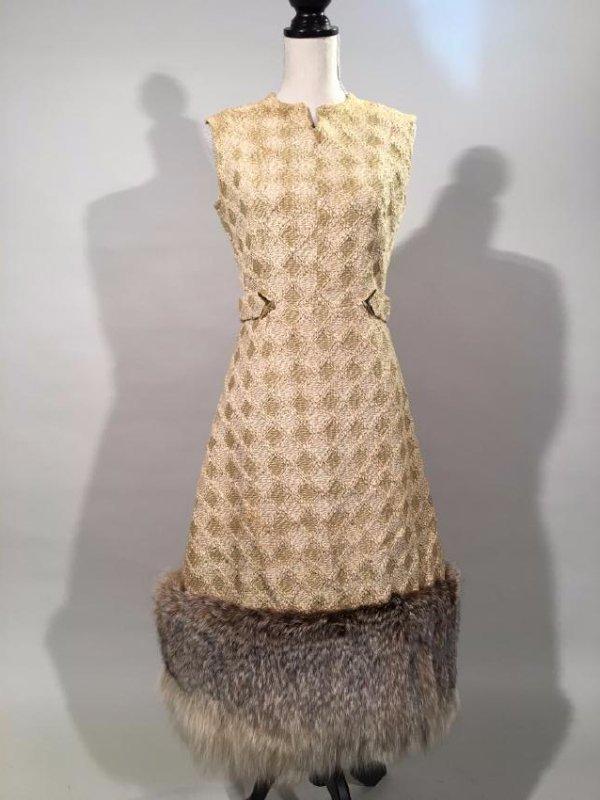 Tan Knit Dress With Lynx Trim