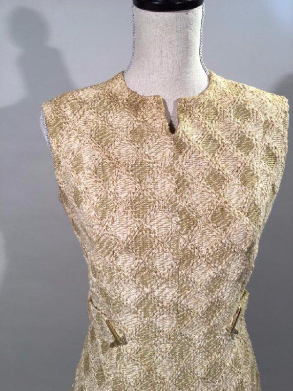 Tan Knit Dress With Lynx Trim - 2