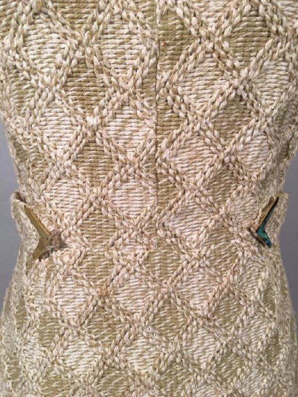 Tan Knit Dress With Lynx Trim - 3