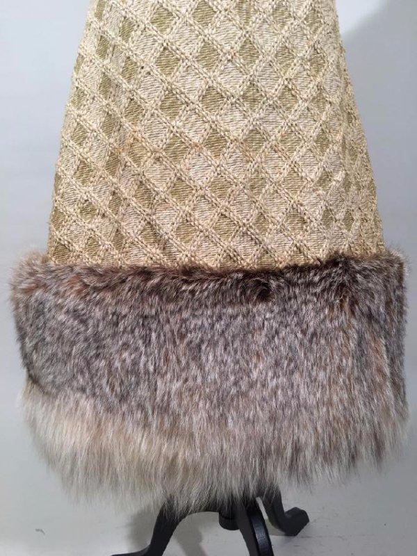 Tan Knit Dress With Lynx Trim - 4