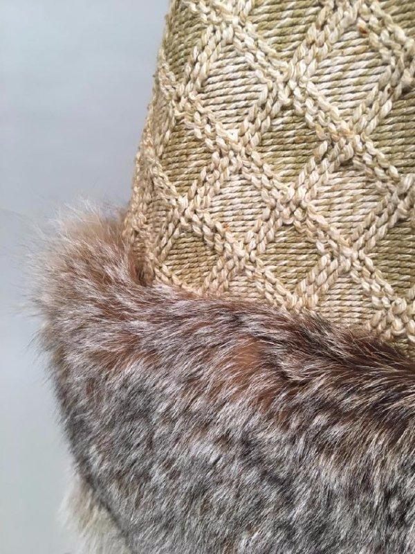 Tan Knit Dress With Lynx Trim - 6