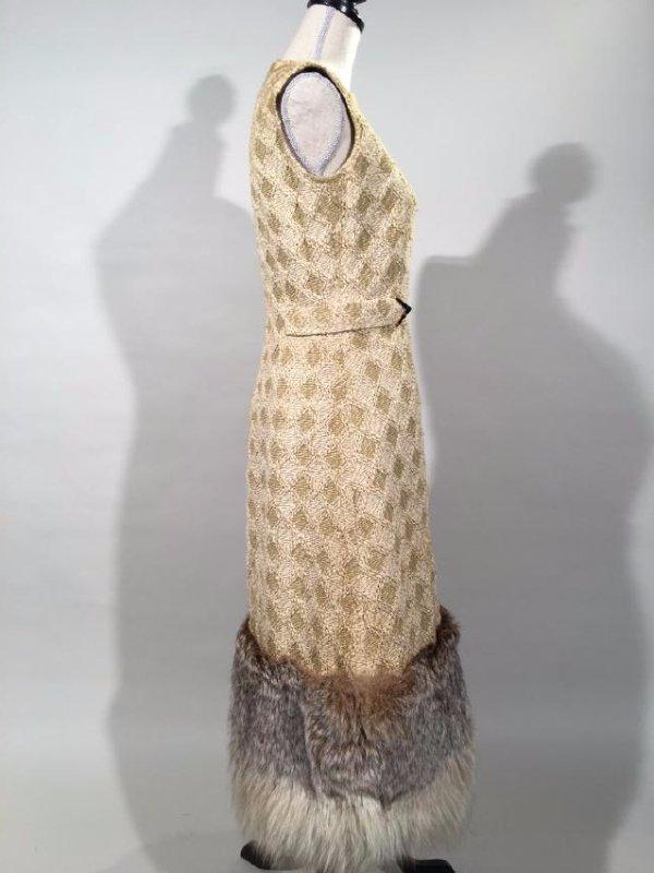 Tan Knit Dress With Lynx Trim - 7