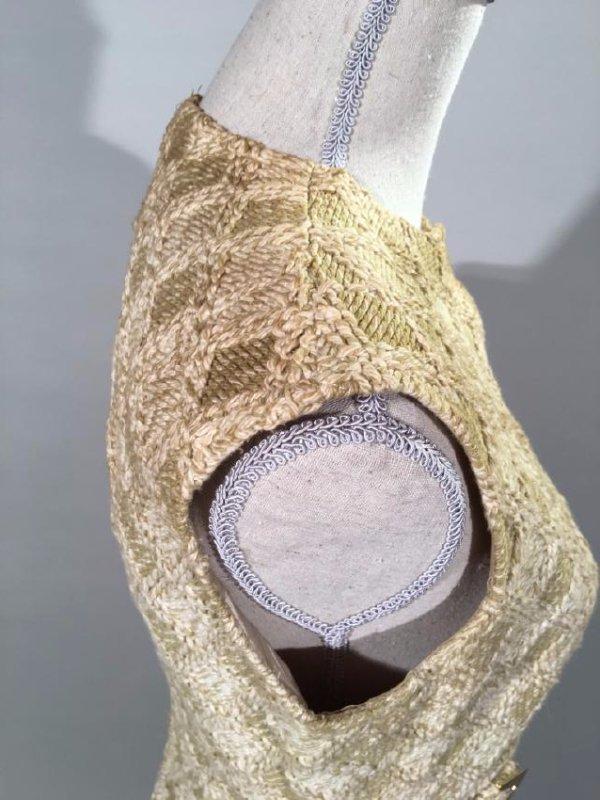 Tan Knit Dress With Lynx Trim - 8