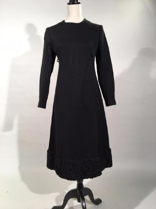 Black Dress With Persian Lamb Trim