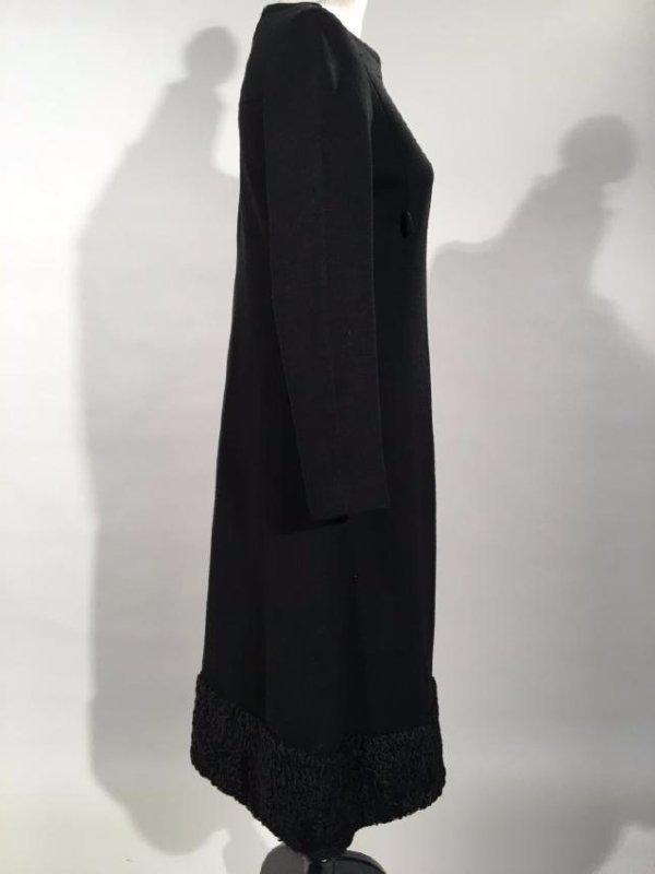 Black Dress With Persian Lamb Trim - 6