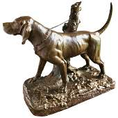 Large Bronze Hunting Dog, A. Cain