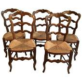 Set Of 5 French Country Chairs