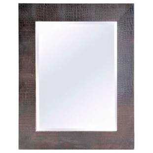 Large Embossed-Leather Framed Mirror