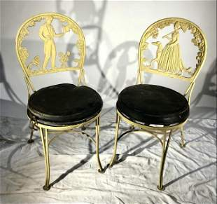 "Pair of ""Molla"" Cast Aluminum Garden Chairs,"