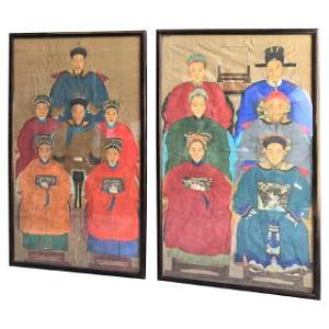 Pair of Large Ancestor Portraits, Chinese