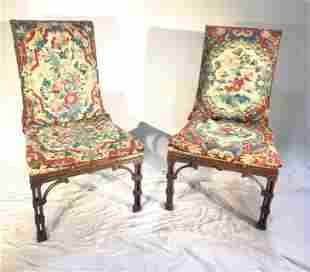 Pair of English Chinese Chippendale Chairs