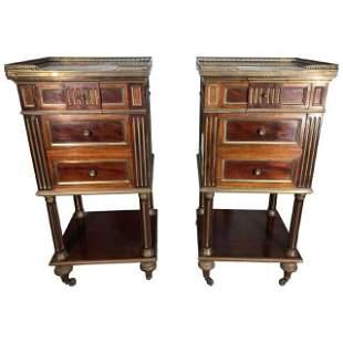 Pair of French Napoleon III Nightstands