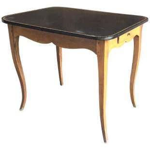 Louis XV Side Table, Leather Top