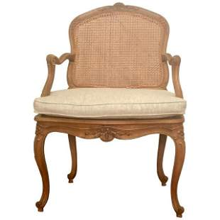 Louis XV Style Armchair, Caned