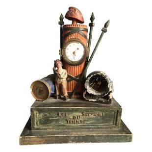 French Revolution Theme Mantel Clock, 19th C.