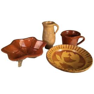 Collection Of 4 Redware Items