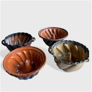 Collection Of 4 Pennsylvania Redware Cake Molds, 19th