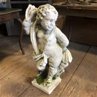 Cast Stone Garden Figure Of Cherub