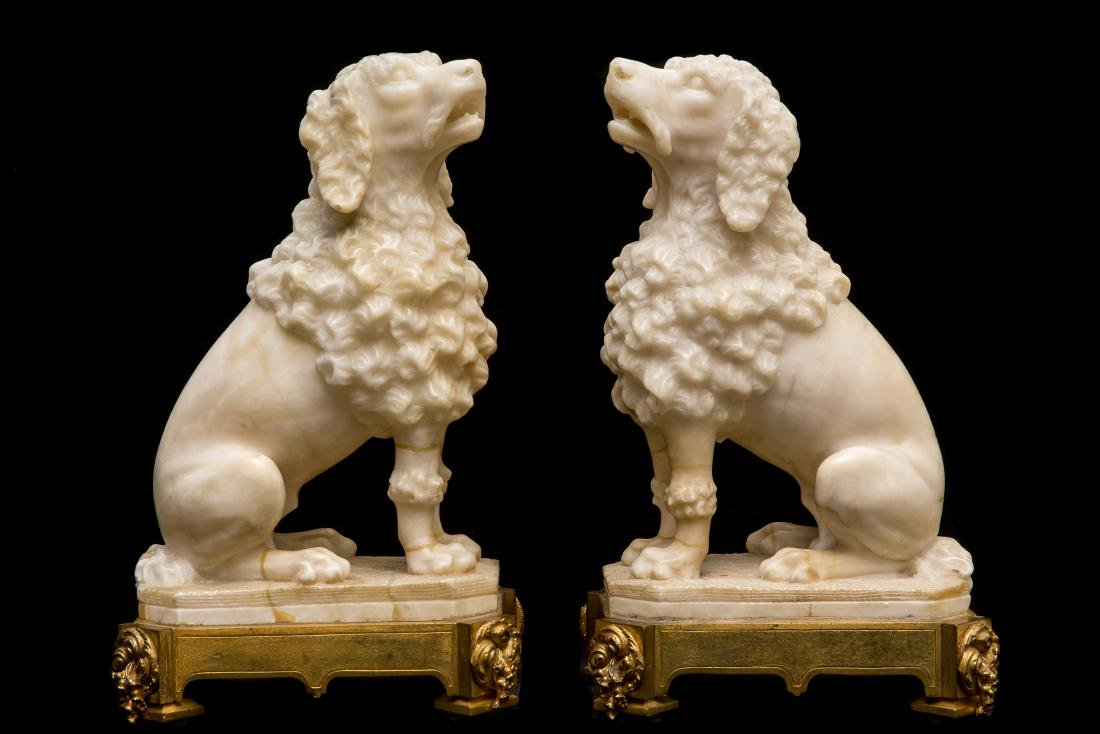 Pair of Alabaster Dogs