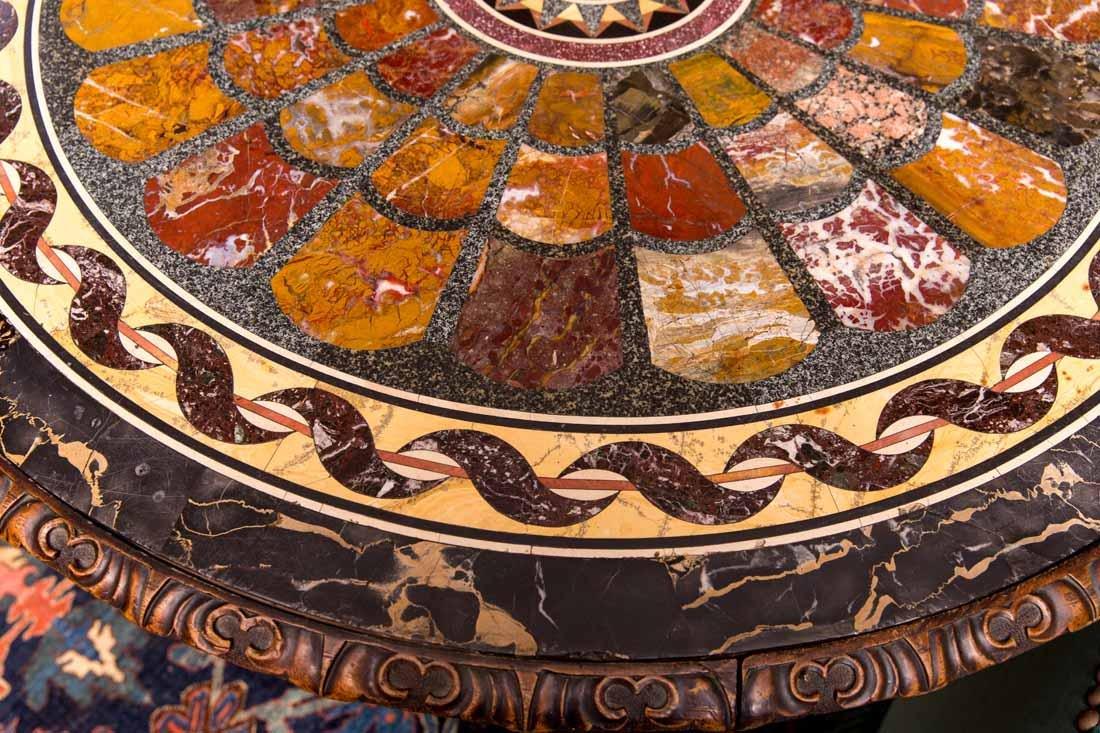 Antique Pietra Dura Round Table - 7