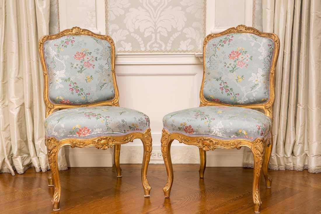 Pair of Louis XV Giltwood Side Chairs