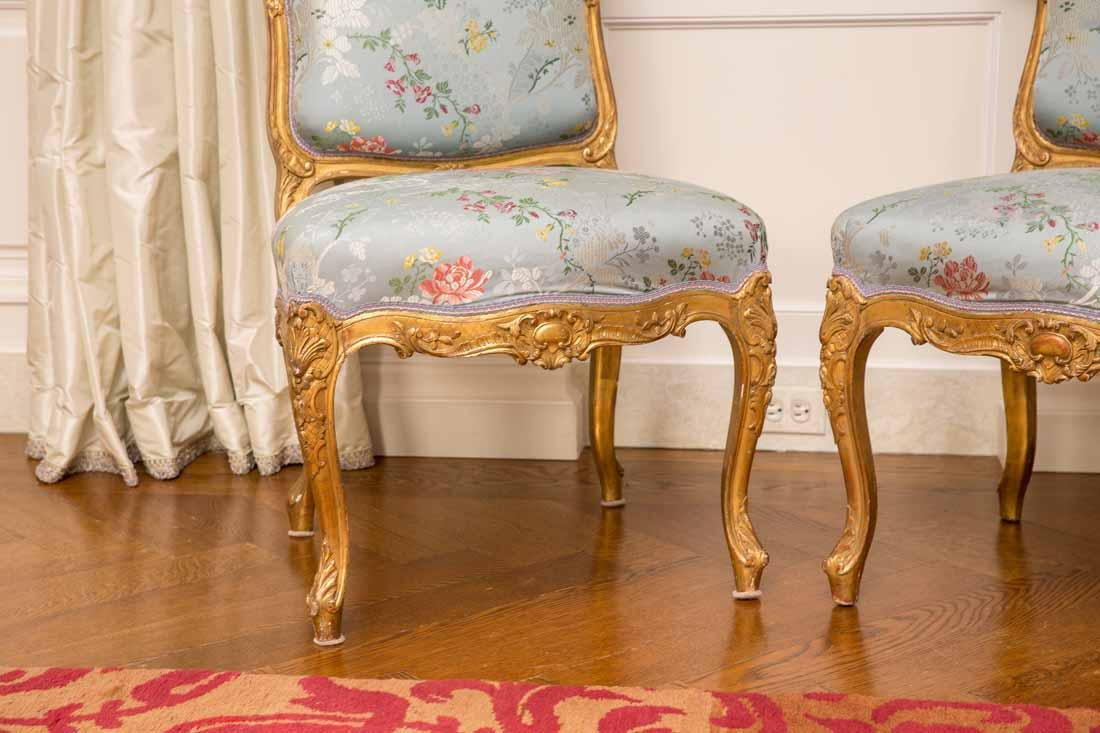 Pair of Louis XV Giltwood Side Chairs - 2