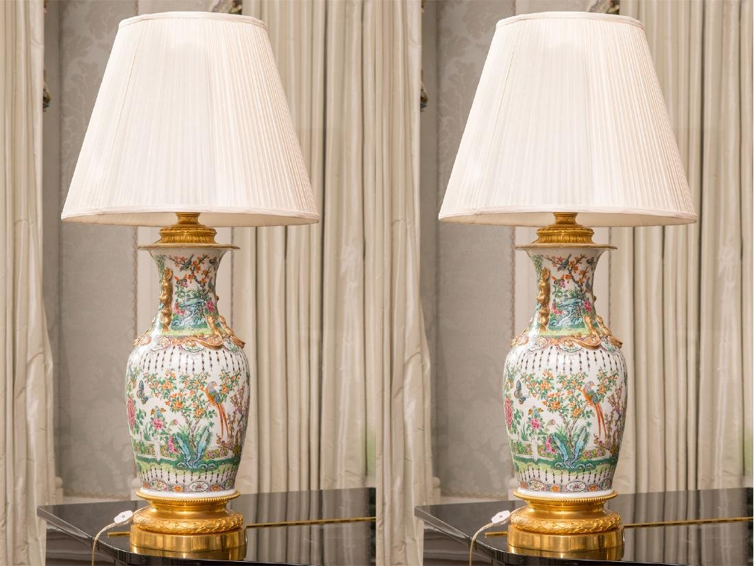 Pair Famille Rose Vases as Lamps