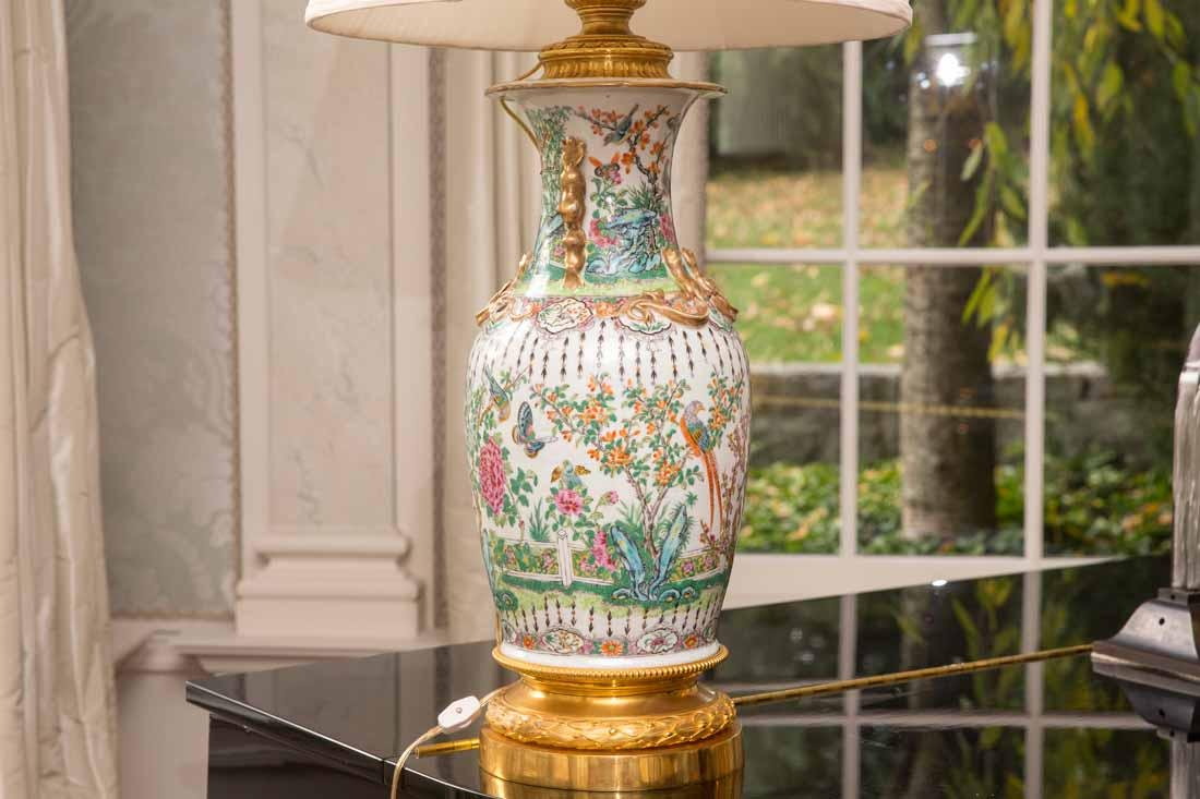 Pair Famille Rose Vases as Lamps - 2